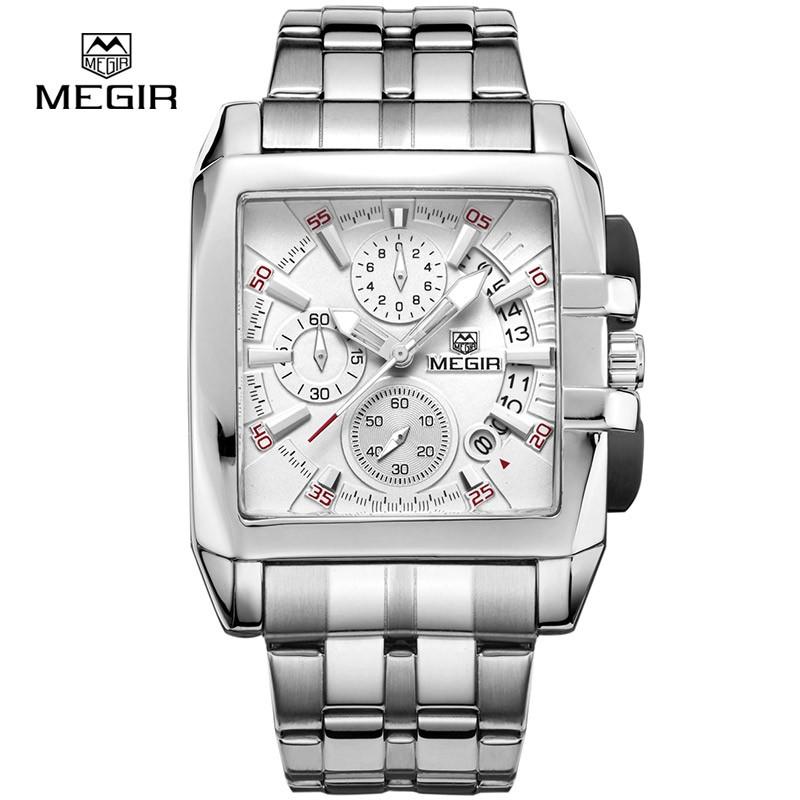 Megir 2018 marque de luxe montre homme carré Quartz chronographe Date militaire hommes affaires étanche montre en acier inoxydable